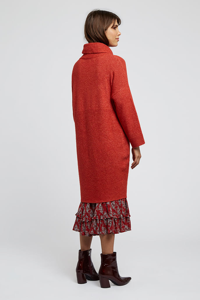 Louche-Juana-Knitted-Rib-Detail-Dress-Red---Second