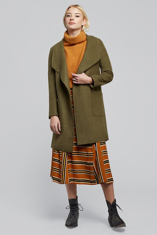 Louche Nara Waterfall Coat Khaki