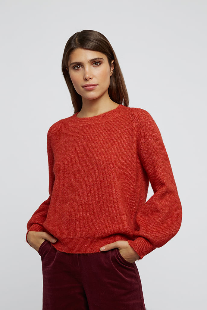 Louche-Clara-Bell-Sleeve-Jumper-Red---Main