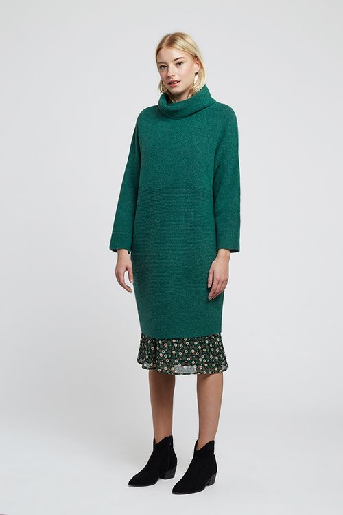 Louche Juana Knitted Rib Detail Dress Teal