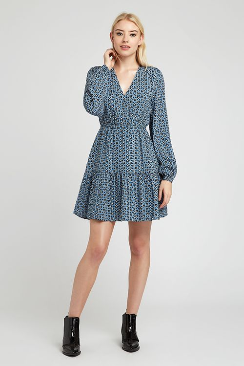 Louche Giovanna Geostar Tiered Mini Dress Blue