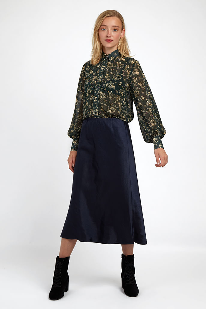 Louche-Tehani-Satin-Skirt-Navy---Main