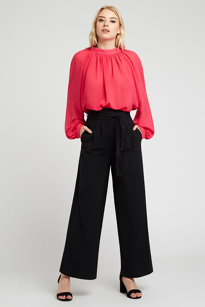 Louche-Mieko-Fringed-Trouser-Black---Main
