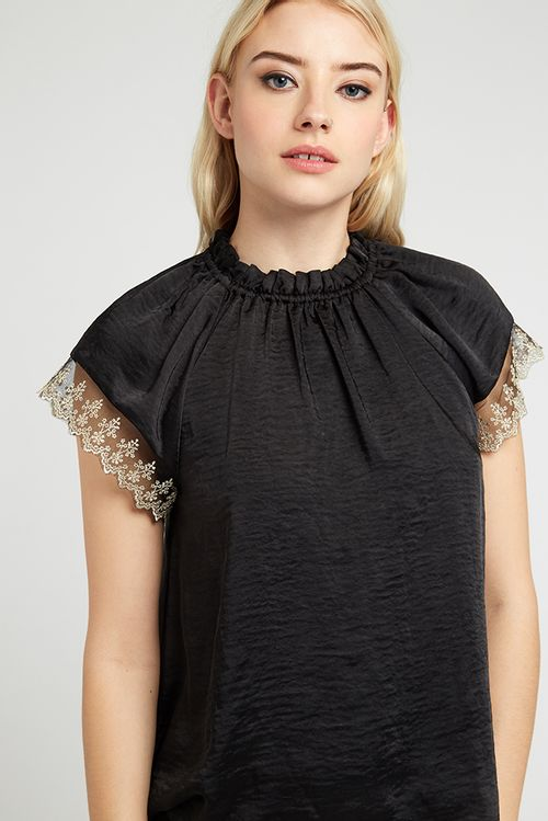 Louche Lea Lace Trim Top Black