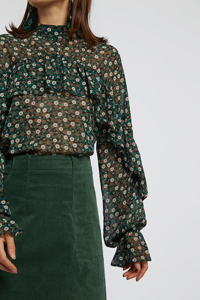 Louche-Zoelie-Deco-Floral-Blouse-Green---Other