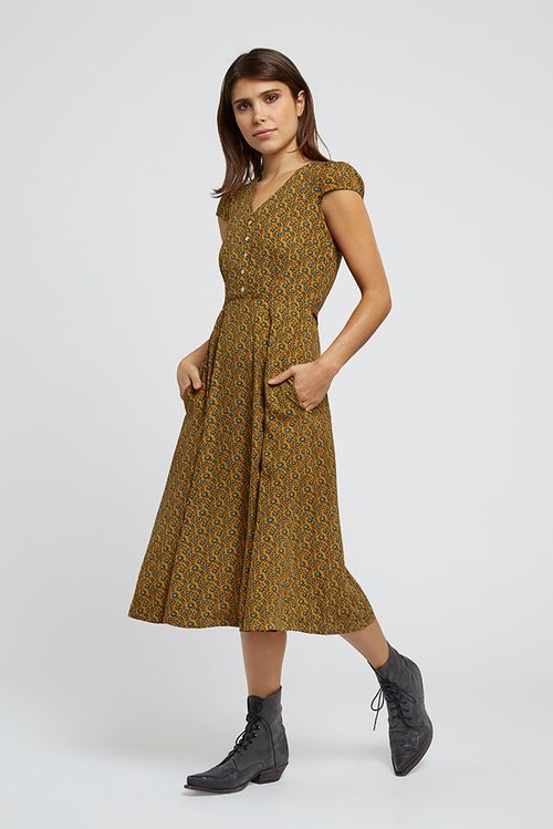 Louche Cathleen Passion Flower Midi Dress Mustard