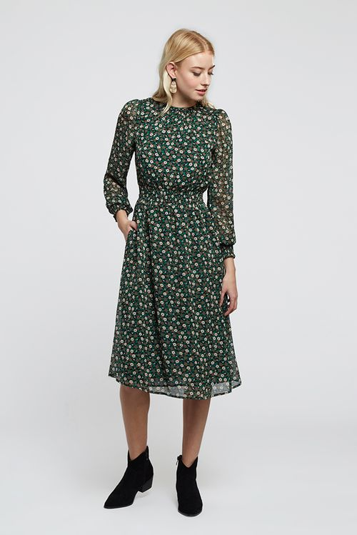 Louche Danie Deco Floral Midi Dress Green