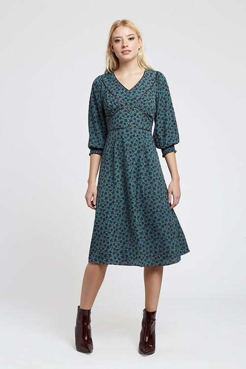 Louche Loretta Rambler Midi Dress Teal