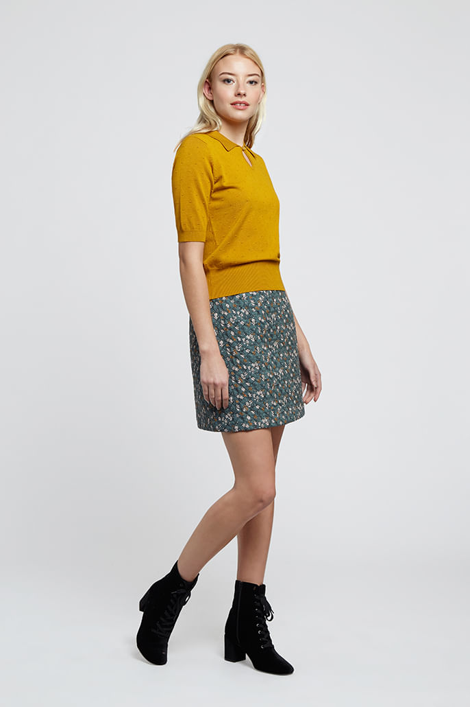 Louche-Aubin-Quilted-Floral-Print-Skirt-Teal---Main