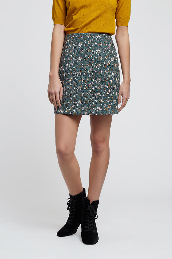 Louche-Aubin-Quilted-Floral-Print-Skirt-Teal---Second