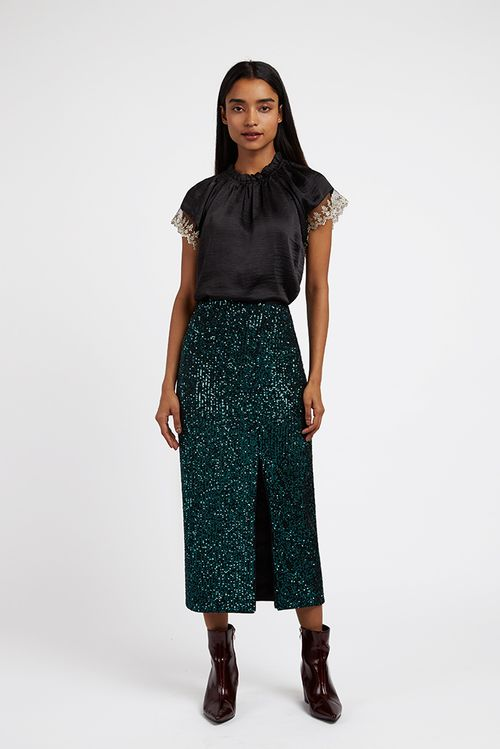Louche Laina Sequin Skirt Green