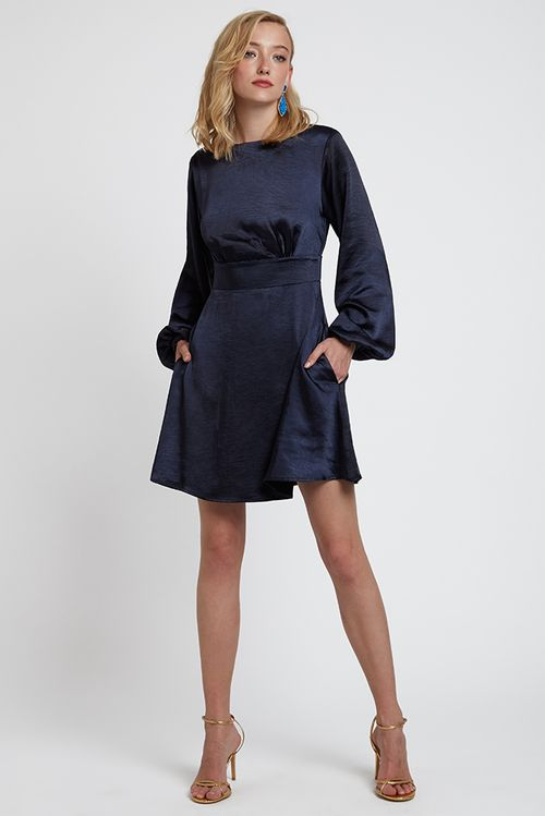 Louche Trevis Satin Volume Sleeve Dress Navy