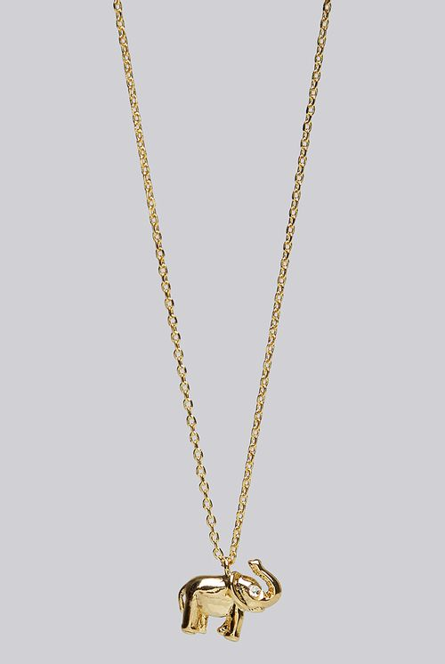 Louche Luxe Sandra Brass Elephant Necklace Gold