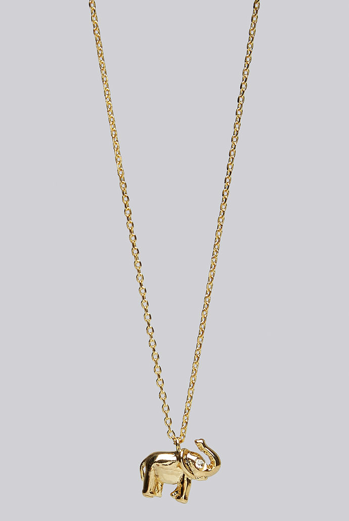 Louche-Luxe-Sandra-Brass-Elephant-Necklace-Gold----Main