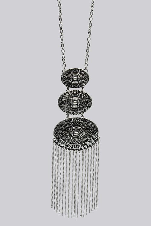 Louche Nova Silver Chain Tassel Drop Necklace