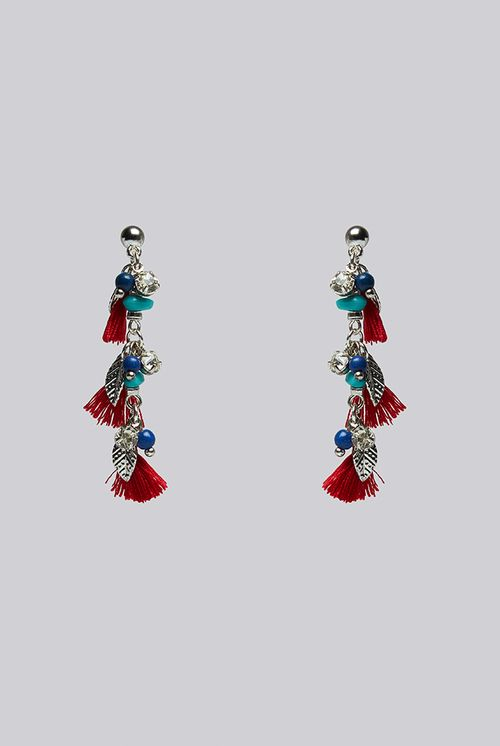 Louche Sage Charm And Tassel Drop Earring