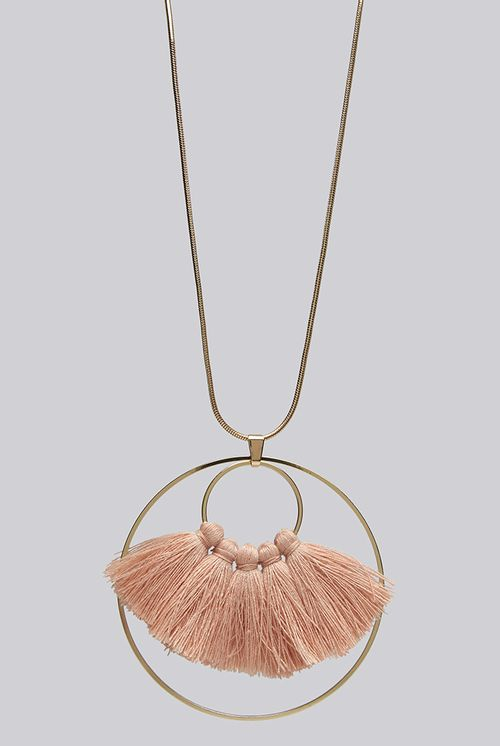 Louche Steph Tassel And Circle Pendant Necklace Gold