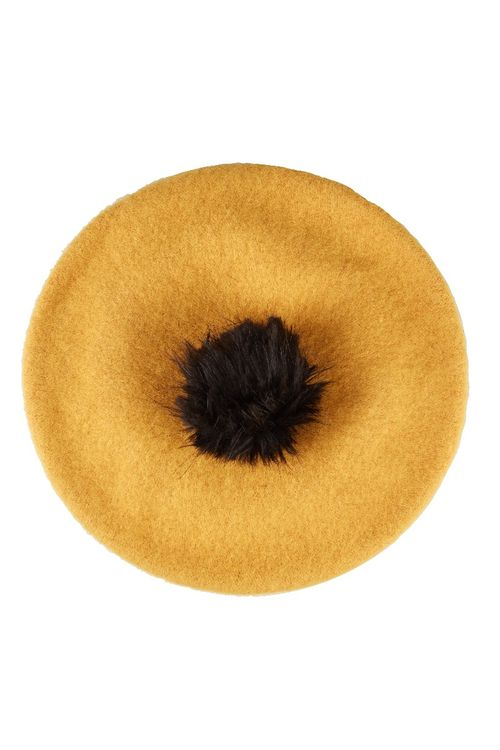 Louche Stevie Beret With Pom Beret Mustard
