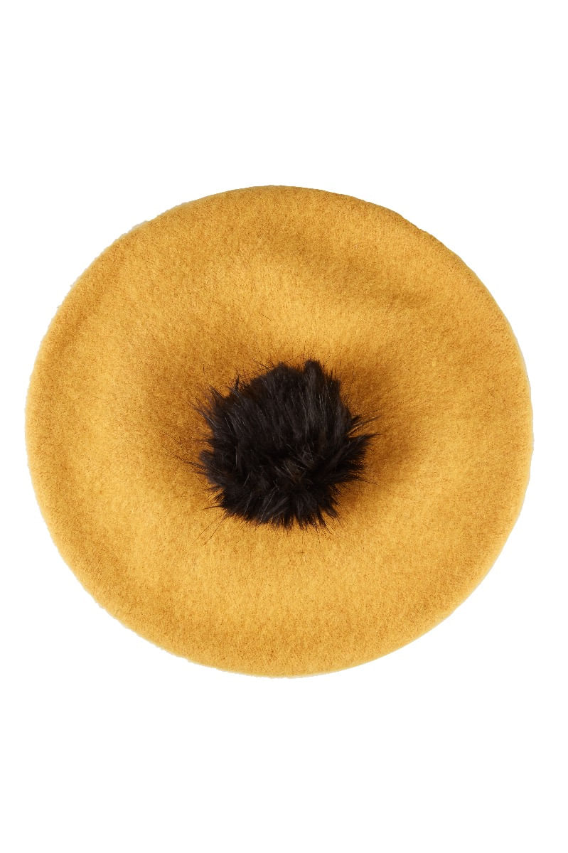 Louche-Stevie-Beret-With-Pom-Beret-Mustard---Main