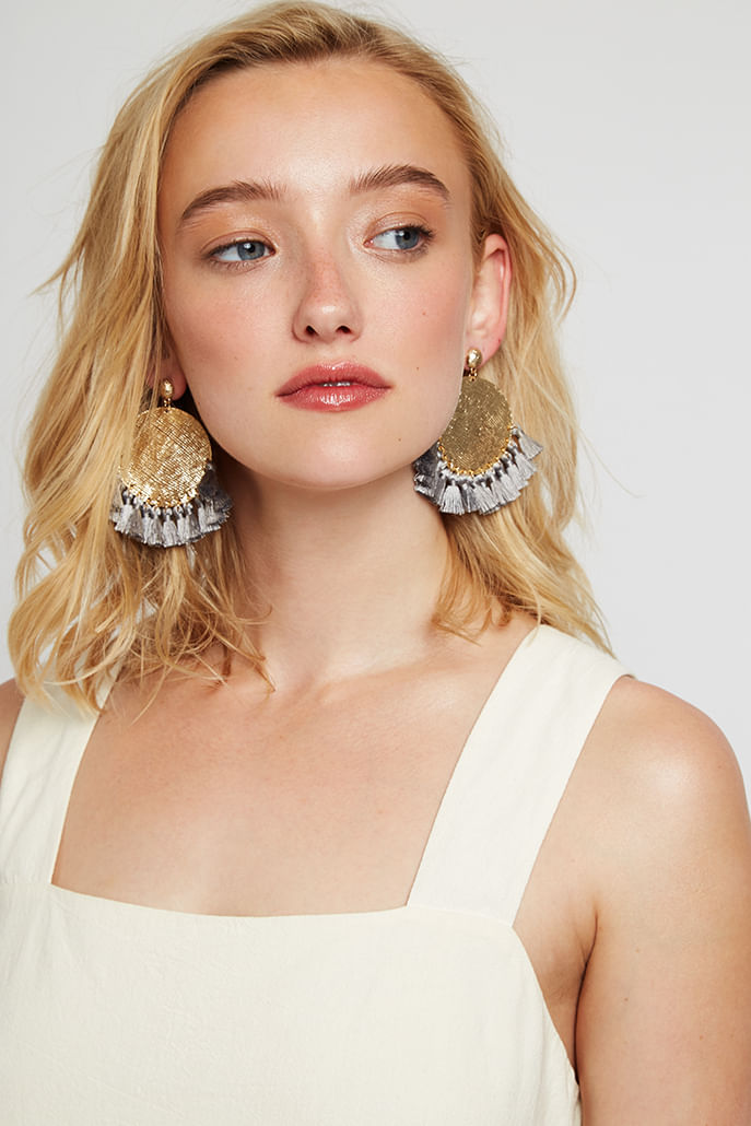 Louche-Sally-Large-Disc-And-Small-Tassel-Earring-Gold----Main