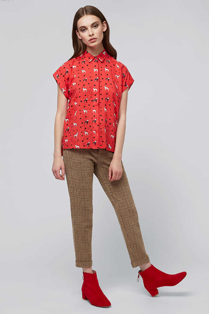 Louche-Abinaya-Dog-Short-Sleeve-Shirt-Red---Other