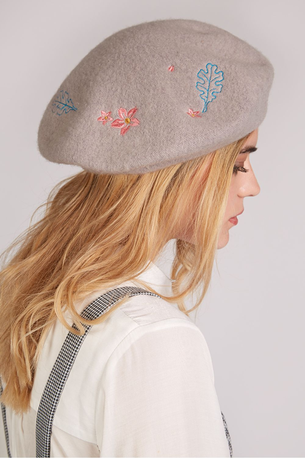 Louche Cici Embroidered Leaf Beret Grey Wool