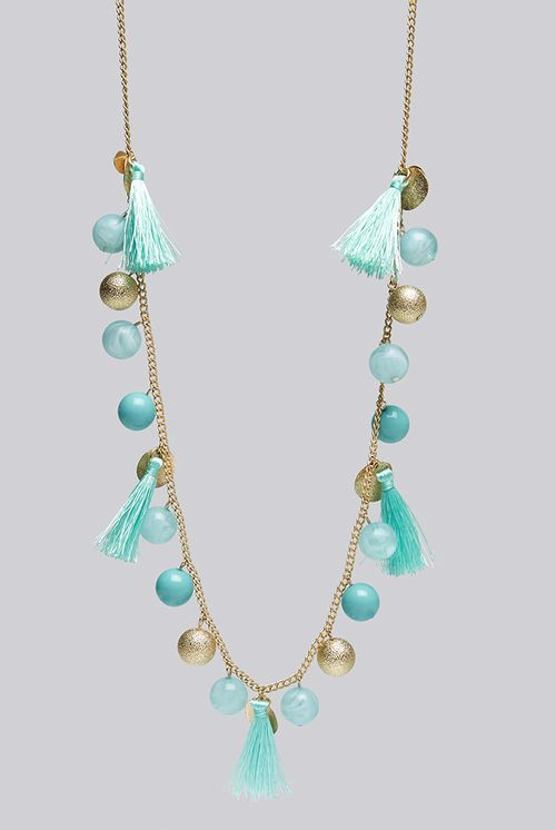 Louche Laura Tassel And Bead Gold Necklace
