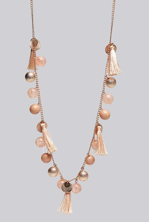 Louche Laura Tassel And Bead Rose Gold Necklace