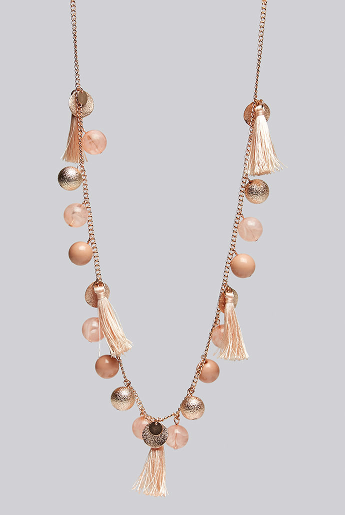 Louche-Laura-Tassel-And-Bead-Rose-Gold-Necklace---Main