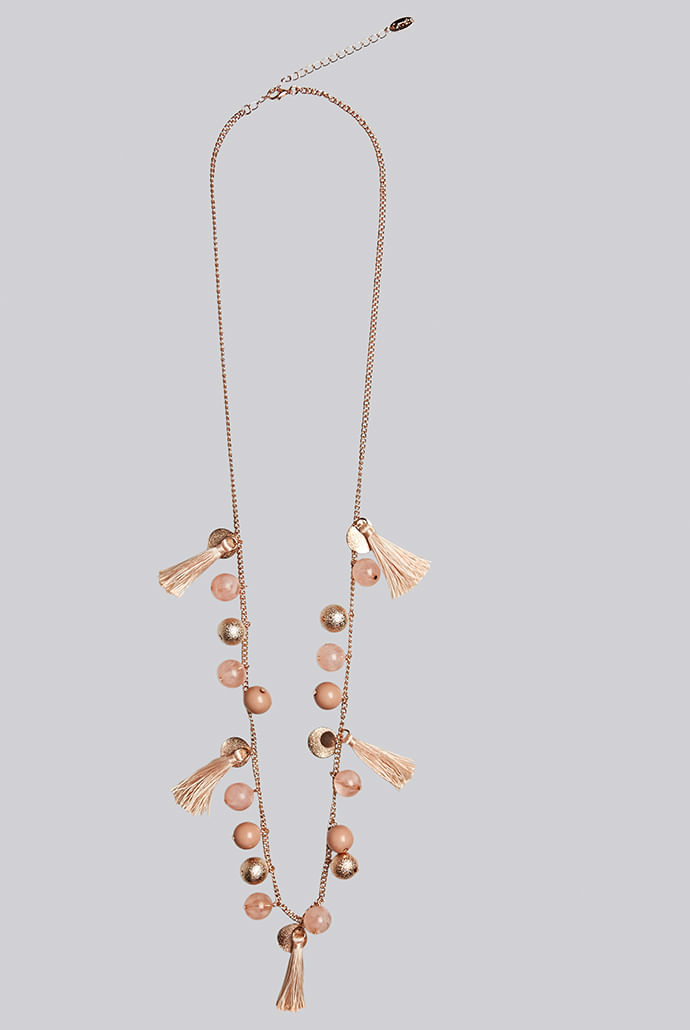 Louche-Laura-Tassel-And-Bead-Rose-Gold-Necklace---Second