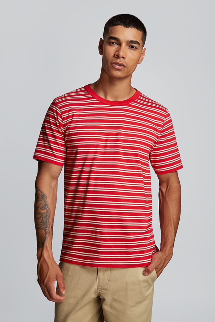 Hymn-Fastlane-Stripe-Mens-T-Shirt-Red---Second