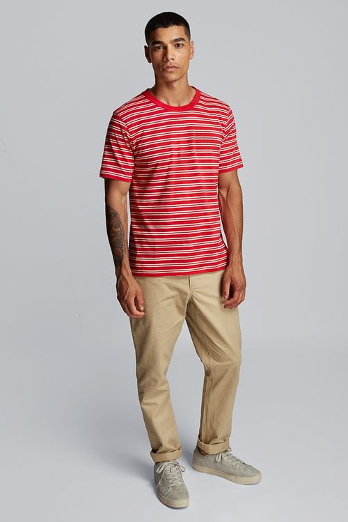Hymn Fastlane Stripe Mens T-Shirt Red