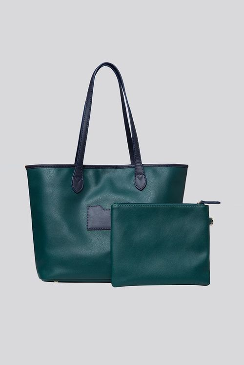 Louche Amelia Contrast Strap Tote Bag Green Green