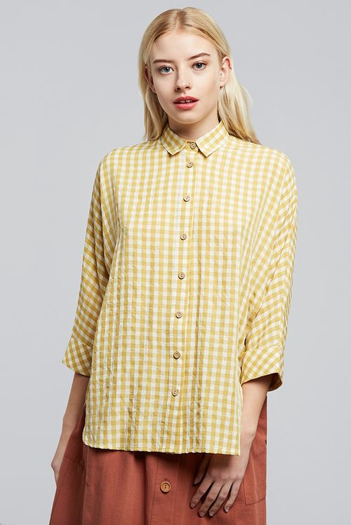 Louche Canby Gingham Batwing Shirt Yellow