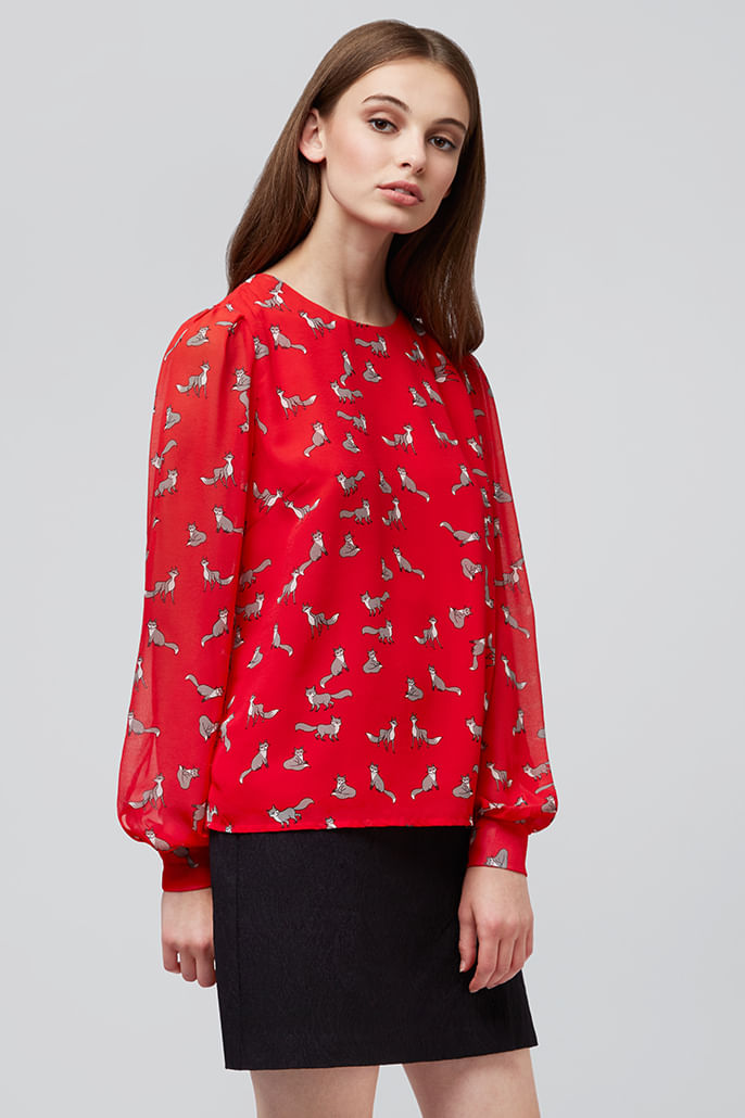 Louche-Eunice-Fox-Blouse-Red---Main