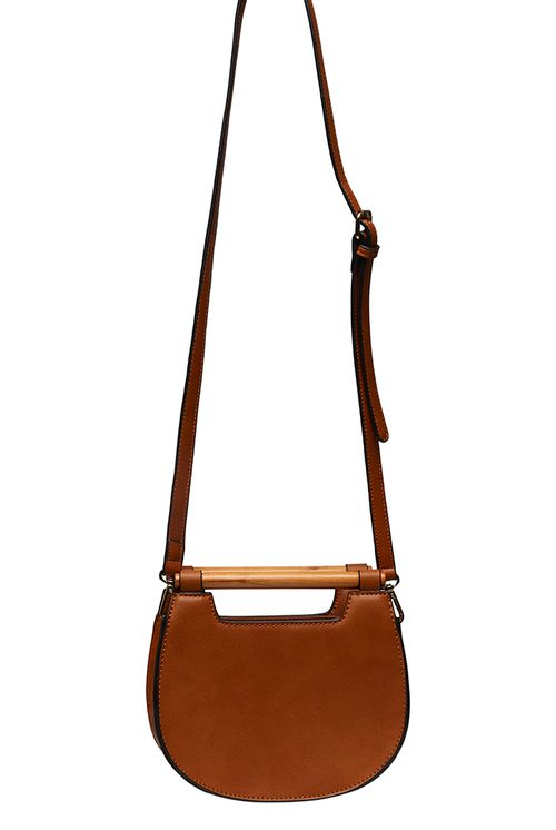 Louche Jones Wooden Handle Saddle Crossbody Tan