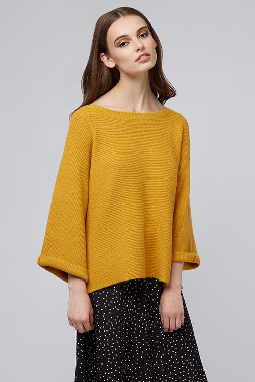 Louche Osana Turn Up Cuff Jumper Mustard