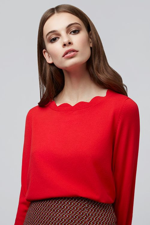 Louche Sonja Scallop Neck Jumper Red