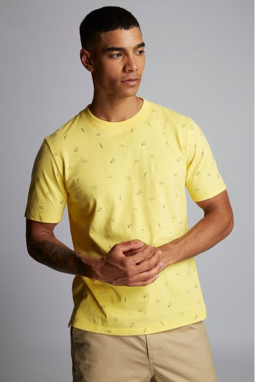 Hymn Forecast Printed Weather T-Shirt Yellow