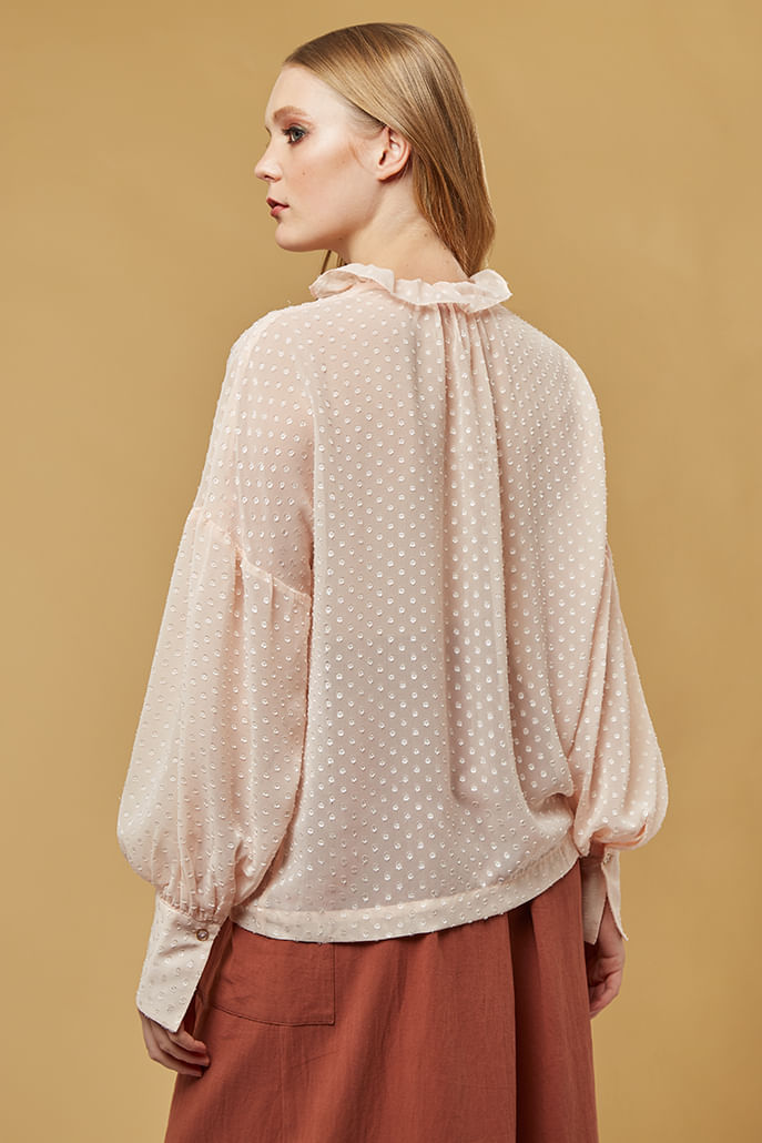 Louche-Alexy-Dobby-Ruffle-Neck-Blouse-Pink---Second