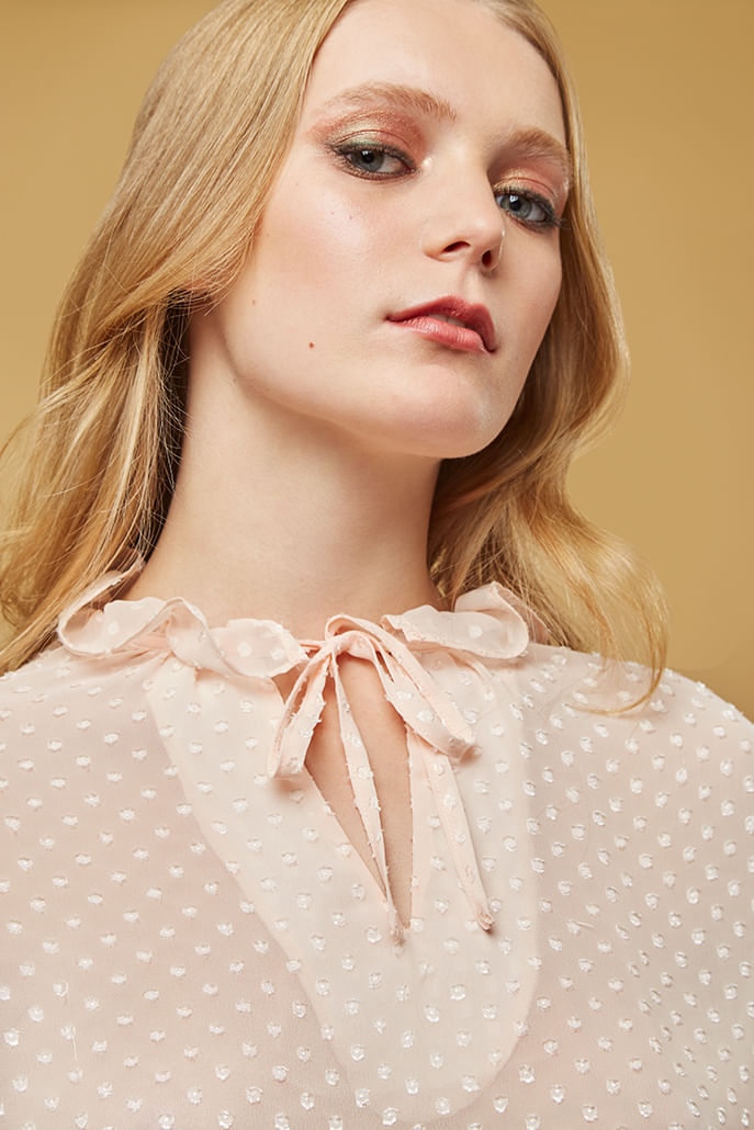 Louche-Alexy-Dobby-Ruffle-Neck-Blouse-Pink---Other