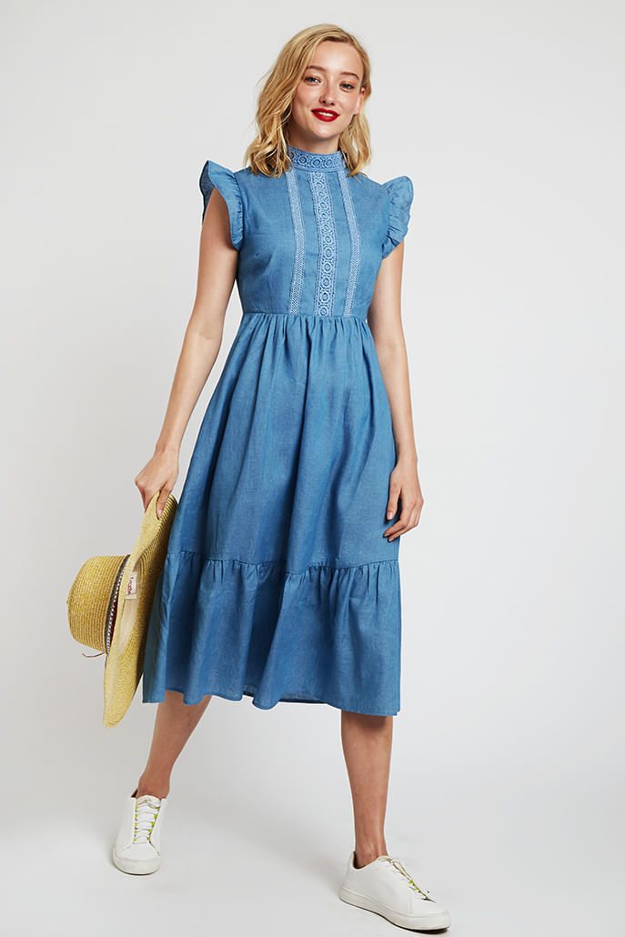 Louche-Ally-Lace-Trim-Dress-Chambray---Main