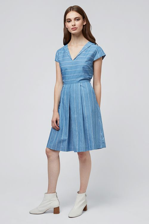 Louche Cherish Stripe Chambray Dress Chambray