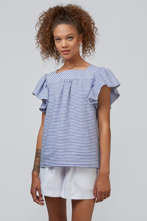 Louche Raymonde Chambray Striped Frill Sleeve Top