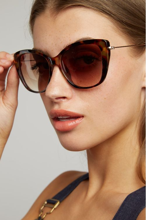 Louche Sam Cat Eye Sunglasses Tortoiseshell Metal Sides