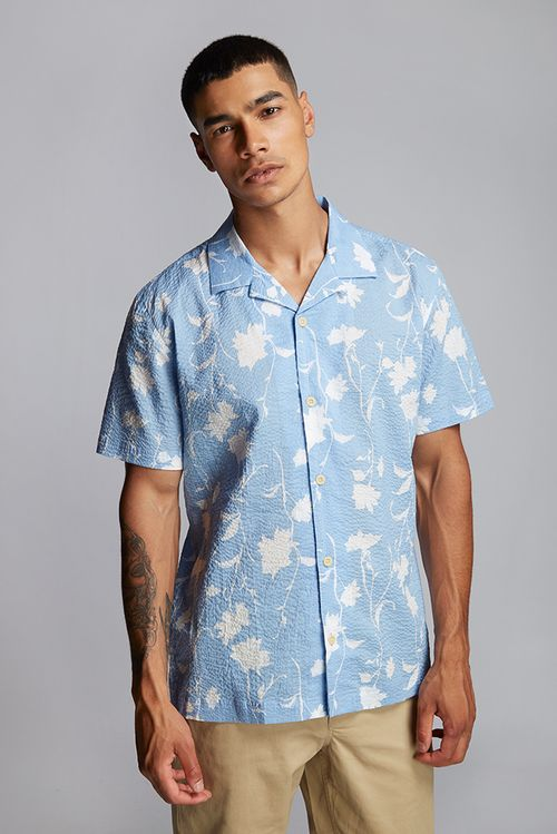 Hymn Shade Abstract Floral Seersucker Resort Shirt Blue