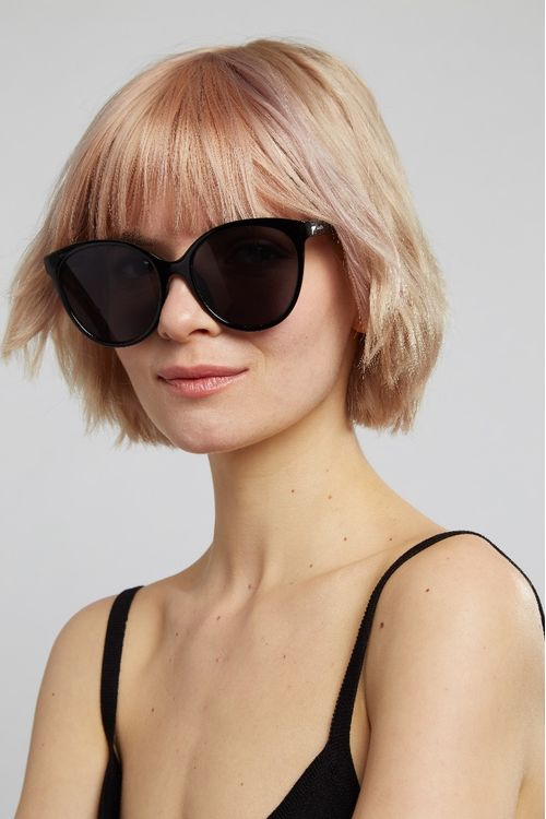 Louche Lilly Round Cat Eye Sunglasses Black