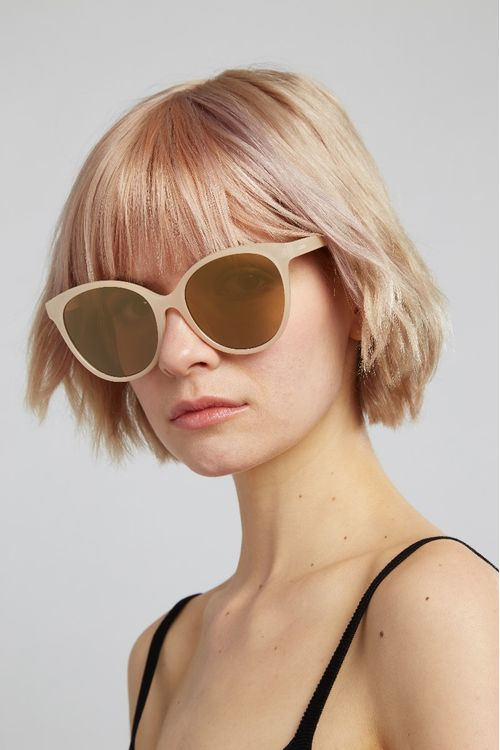 Louche Lilly Round Cat Eye Sunglasses Pink