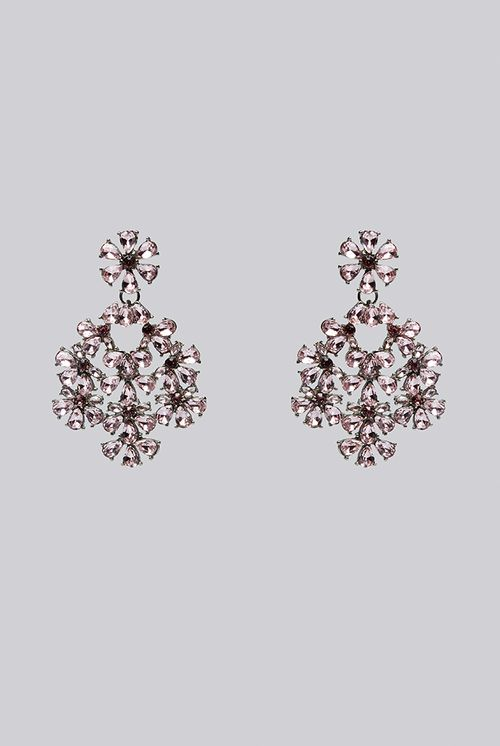 Louche Evie Large Floral Pink Stone Earring