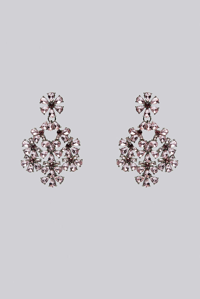 Louche-Evie-Large-Floral-Pink-Stone-Earring---Main